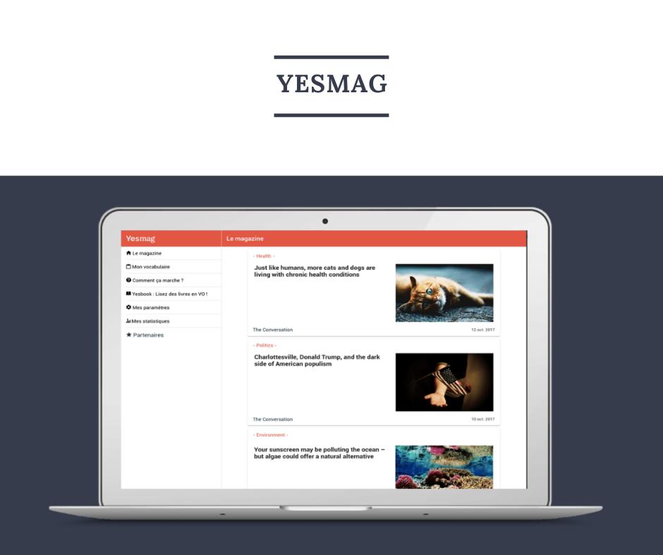 Présentation de la version web de Yesmag, magazine pour s'améliorer en anglais